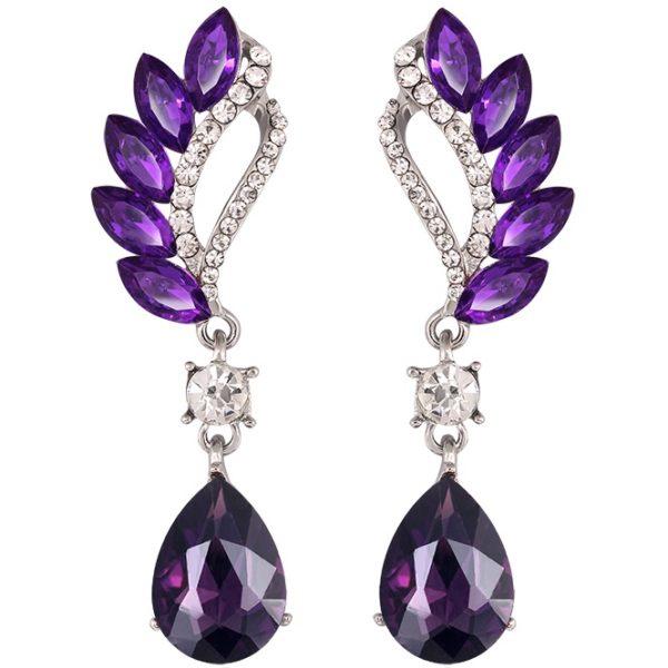 lacna bizuteria - najlacnejšia bižutéria - doplnky na stužkovú - šperky sety - šperky z chirurgickej ocele - darček na stužkovú - šperky na stužkovú - Náušnice Beautiful - Fialová KP1851
