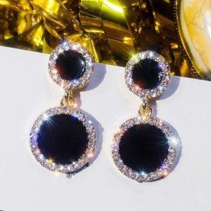 lacna bizuteria - najlacnejšia bižutéria - doplnky na stužkovú - šperky sety - šperky z chirurgickej ocele - darček na stužkovú - šperky na stužkovú - Náušnice Black Circle-Čierna KP5105