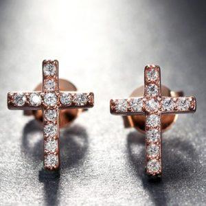 lacna bizuteria - najlacnejšia bižutéria - doplnky na stužkovú - šperky sety - šperky z chirurgickej ocele - darček na stužkovú - šperky na stužkovú - Náušnice Cross-Zlatá KP5117
