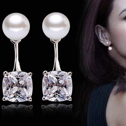 lacna bizuteria - najlacnejšia bižutéria - doplnky na stužkovú - šperky sety - šperky z chirurgickej ocele - darček na stužkovú - šperky na stužkovú - Náušnice Pearl Push-Strieborná KP1890