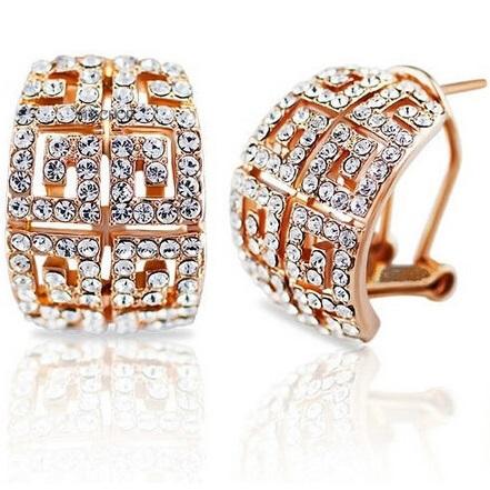 lacna bizuteria - najlacnejšia bižutéria - doplnky na stužkovú - šperky sety - šperky z chirurgickej ocele - darček na stužkovú - šperky na stužkovú - Náušnice Sparkling - Zlatá KP1418