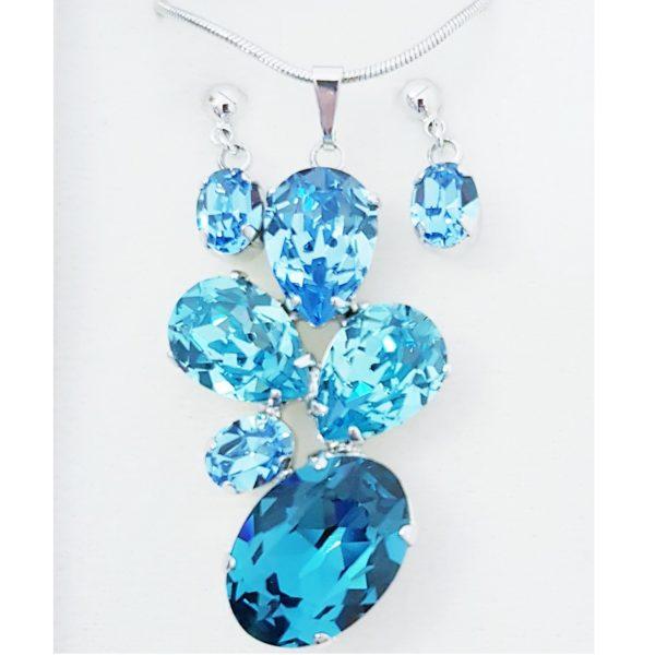 najlacnejšia bižutéria - náhrdelník - lacná bižutéria - bižutéria náušnice - bižutéria náhrdelníky - lacna bizuteria - swarovski sety - swarovsi náhrdelník - najlacnejšia bižutéria - swarovski set - doplnky na stužkovú - šperky sety - šperky z chirurgickej ocele - bižutéria sety - bižutéria náhrdelníky - darček na stužkovú - šperky na stužkovú - set náhrdelník náušnice - Set Pedra SWAROVSKI-Modrá KP4738