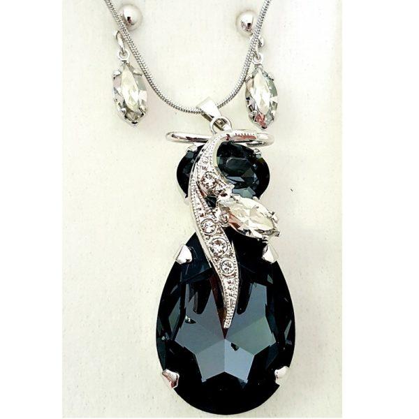 najlacnejšia bižutéria - náhrdelník - lacná bižutéria - bižutéria náušnice - bižutéria náhrdelníky - lacna bizuteria - swarovski sety - swarovsi náhrdelník - najlacnejšia bižutéria - swarovski set - doplnky na stužkovú - šperky sety - šperky z chirurgickej ocele - bižutéria sety - bižutéria náhrdelníky - darček na stužkovú - šperky na stužkovú - set náhrdelník náušnice - Set Rasgar SWAROVSKI-Čierna KP4737
