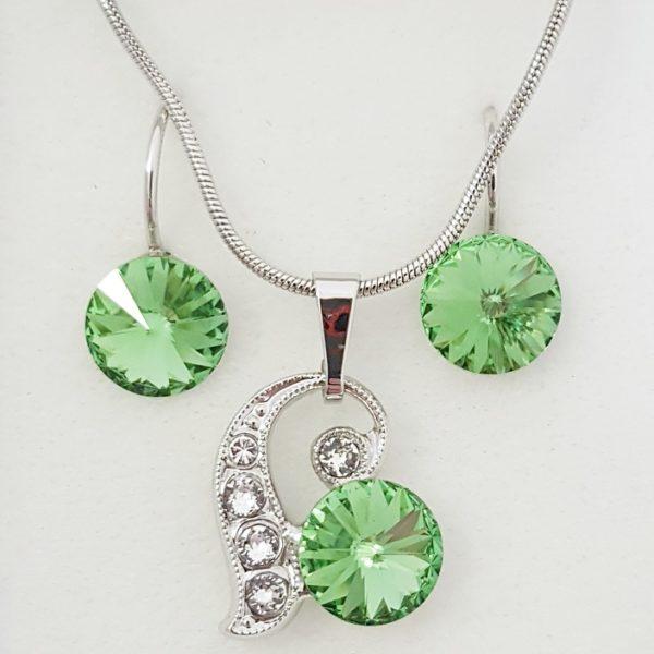 najlacnejšia bižutéria - náhrdelník - lacná bižutéria - bižutéria náušnice - bižutéria náhrdelníky - lacna bizuteria - swarovski sety - swarovsi náhrdelník - najlacnejšia bižutéria - swarovski set - doplnky na stužkovú - šperky sety - šperky z chirurgickej ocele - bižutéria sety - bižutéria náhrdelníky - darček na stužkovú - šperky na stužkovú - set náhrdelník náušnice - Set Sabine SWAROVSKI-Zelená KP4760