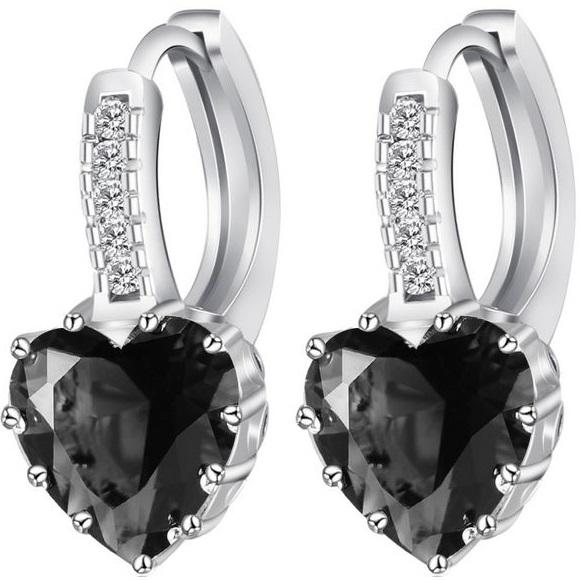 lacna bizuteria - najlacnejšia bižutéria - doplnky na stužkovú - šperky sety - šperky z chirurgickej ocele - darček na stužkovú - šperky na stužkovú - Náušnice Silver Heart - Čierna KP1949