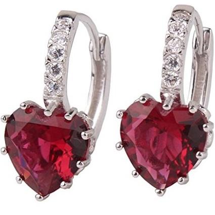 lacna bizuteria - najlacnejšia bižutéria - doplnky na stužkovú - šperky sety - šperky z chirurgickej ocele - darček na stužkovú - šperky na stužkovú - Náušnice Silver Heart - Červená KP1557