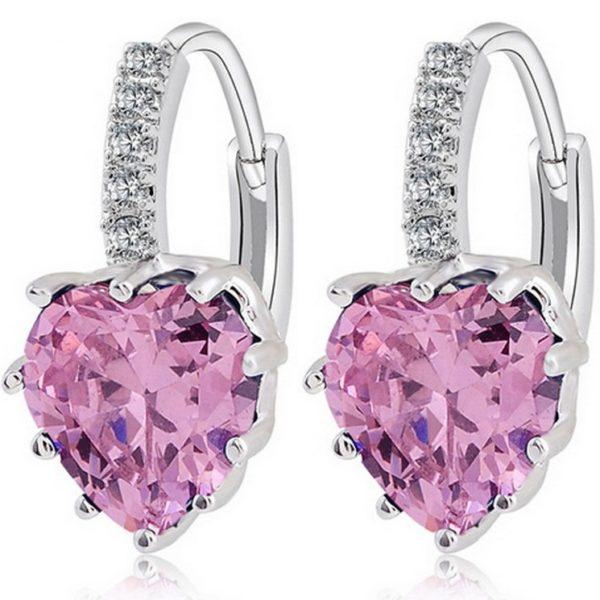 lacna bizuteria - najlacnejšia bižutéria - doplnky na stužkovú - šperky sety - šperky z chirurgickej ocele - darček na stužkovú - šperky na stužkovú - Náušnice Silver Heart - Ružová KP1560
