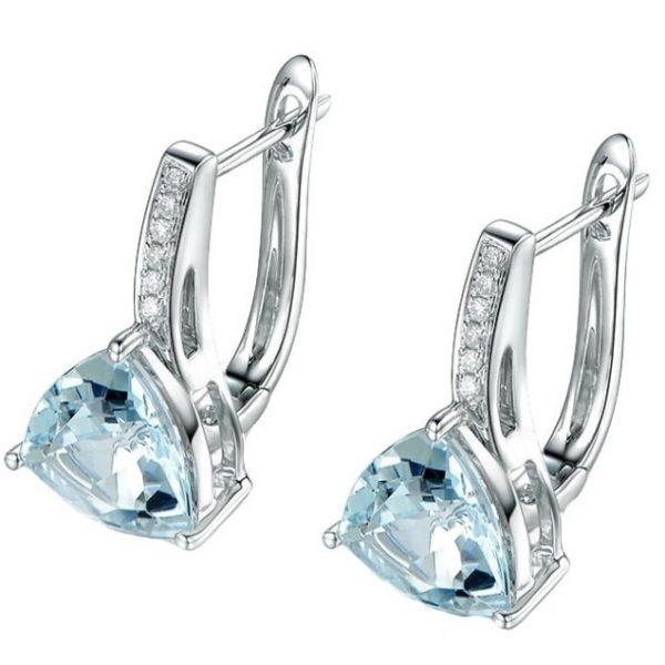 lacna bizuteria - najlacnejšia bižutéria - doplnky na stužkovú - šperky sety - šperky z chirurgickej ocele - darček na stužkovú - šperky na stužkovú - Náušnice Triangolo-Sl.Modrá KP5055