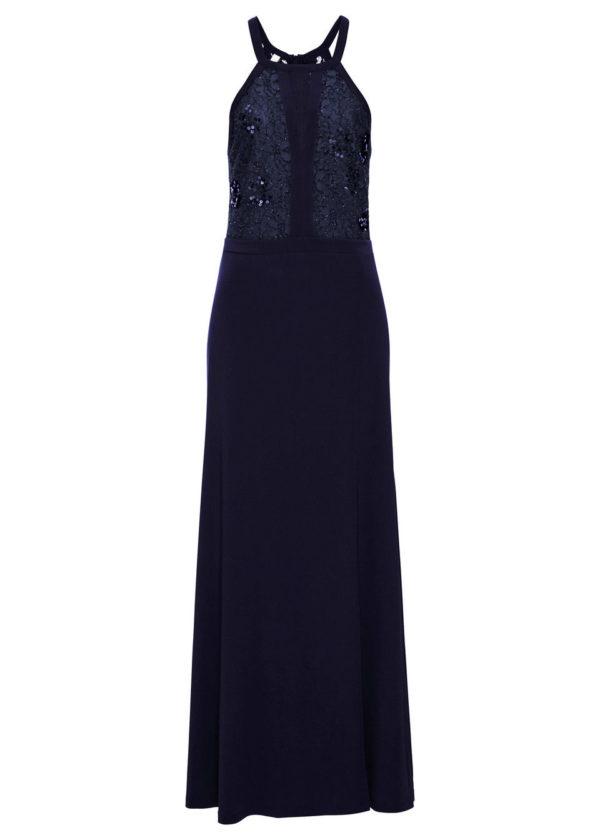 Večerné šaty s čipkou a flitrami bonprix - šaty na stužkovú  kráľovská modrá - saty na stuzkovu - spoločenské šaty na stužkovú - šaty na stužkovú s dlhým rukávom - plesové šaty na stužkovú - princeznovské šaty na stužkovú - tylové šaty na stužkovú - dlhé šaty na stužkovú