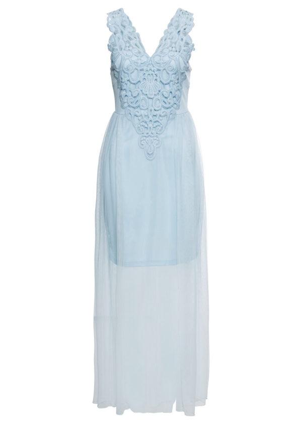 Večerné šaty s dlhou sieťovinou bonprix - šaty na stužkovú  kráľovská modrá - saty na stuzkovu - spoločenské šaty na stužkovú - šaty na stužkovú s dlhým rukávom - plesové šaty na stužkovú - princeznovské šaty na stužkovú - tylové šaty na stužkovú - dlhé šaty na stužkovú