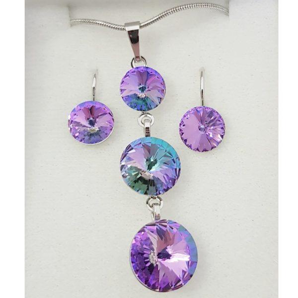 najlacnejšia bižutéria - náhrdelník - lacná bižutéria - bižutéria náušnice - bižutéria náhrdelníky - lacna bizuteria - swarovski sety - swarovsi náhrdelník - najlacnejšia bižutéria - swarovski set - doplnky na stužkovú - šperky sety - šperky z chirurgickej ocele - bižutéria sety - bižutéria náhrdelníky - darček na stužkovú - šperky na stužkovú - set náhrdelník náušnice - Set Viktória SWAROVSKI-Fialová AB KP4759