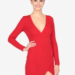 Červené minišaty s prekladaným výstrihom AX Paris - Červené šaty na stužkovú - saty na stuzkovu - spoločenské šaty na stužkovú - šaty na stužkovú s dlhým rukávom - plesové šaty na stužkovú - princeznovské šaty na stužkovú - tylové šaty na stužkovú - dlhé šaty na stužkovú
