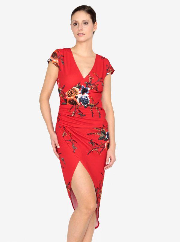 Červené kvetované asymetrické šaty AX Paris - Červené šaty na stužkovú - saty na stuzkovu - spoločenské šaty na stužkovú - šaty na stužkovú s dlhým rukávom - plesové šaty na stužkovú - princeznovské šaty na stužkovú - tylové šaty na stužkovú - dlhé šaty na stužkovú