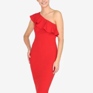 Červené asymetrické šaty s volánom AX Paris - Červené šaty na stužkovú - saty na stuzkovu - spoločenské šaty na stužkovú - šaty na stužkovú s dlhým rukávom - plesové šaty na stužkovú - princeznovské šaty na stužkovú - tylové šaty na stužkovú - dlhé šaty na stužkovú