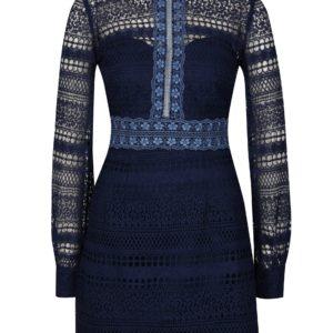 Tmavomodré čipkované šaty Chi Chi London Zosia - šaty na stužkovú  kráľovská modrá - saty na stuzkovu - spoločenské šaty na stužkovú - šaty na stužkovú s dlhým rukávom - plesové šaty na stužkovú - princeznovské šaty na stužkovú - tylové šaty na stužkovú - dlhé šaty na stužkovú
