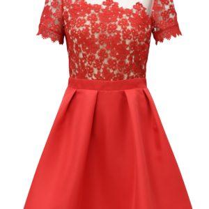 Červené šaty s čipkovaným topom Little Mistress - Červené šaty na stužkovú - saty na stuzkovu - spoločenské šaty na stužkovú - šaty na stužkovú s dlhým rukávom - plesové šaty na stužkovú - princeznovské šaty na stužkovú - tylové šaty na stužkovú - dlhé šaty na stužkovú