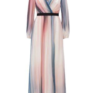 Modro–růžové pruhované maxišaty Little Mistress - šaty na stužkovú - saty na stuzkovu - spoločenské šaty na stužkovú - šaty na stužkovú s dlhým rukávom - plesové šaty na stužkovú - princeznovské šaty na stužkovú - tylové šaty na stužkovú - dlhé šaty na stužkovú