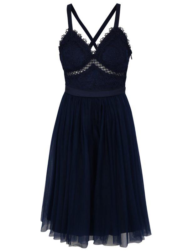 Tmavomodré šaty Chi Chi London Sasha - šaty na stužkovú  kráľovská modrá - saty na stuzkovu - spoločenské šaty na stužkovú - šaty na stužkovú s dlhým rukávom - plesové šaty na stužkovú - princeznovské šaty na stužkovú - tylové šaty na stužkovú - dlhé šaty na stužkovú