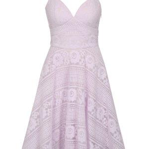 Svetlofialové čipkované šaty Chi Chi London Nadina - Šaty na stužkovú fialové - saty na stuzkovu - spoločenské šaty na stužkovú - šaty na stužkovú s dlhým rukávom - plesové šaty na stužkovú - princeznovské šaty na stužkovú - tylové šaty na stužkovú - dlhé šaty na stužkovú