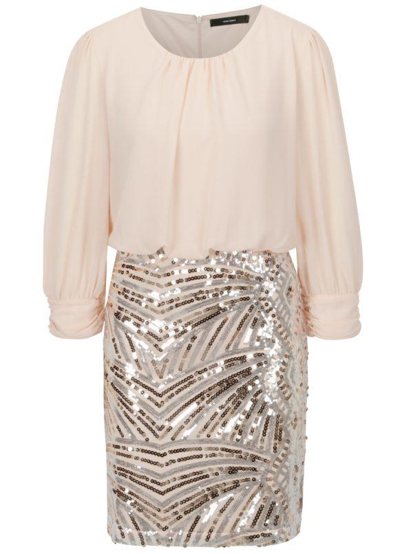 Staroružové šaty s flitrami VERO MODA Elenora - Šaty na stužkovú ružové - saty na stuzkovu - spoločenské šaty na stužkovú - šaty na stužkovú s dlhým rukávom - plesové šaty na stužkovú - princeznovské šaty na stužkovú - tylové šaty na stužkovú - dlhé šaty na stužkovú
