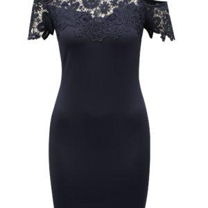 Tmavomodré puzdrové šaty s prestrihmi na ramenách AX Paris - šaty na stužkovú  kráľovská modrá - saty na stuzkovu - spoločenské šaty na stužkovú - šaty na stužkovú s dlhým rukávom - plesové šaty na stužkovú - princeznovské šaty na stužkovú - tylové šaty na stužkovú - dlhé šaty na stužkovú