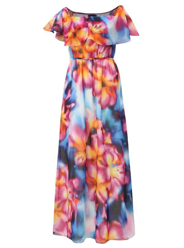 Modro-ružové maxišaty s volánom a opaskom Dorothy Perkins - šaty na stužkovú - saty na stuzkovu - spoločenské šaty na stužkovú - šaty na stužkovú s dlhým rukávom - plesové šaty na stužkovú - princeznovské šaty na stužkovú - tylové šaty na stužkovú - dlhé šaty na stužkovú