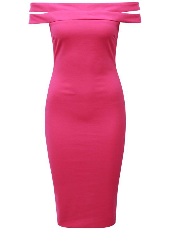 Tmavoružové puzdrové šaty s odhalenými ramenami AX Paris - Šaty na stužkovú ružové - saty na stuzkovu - spoločenské šaty na stužkovú - šaty na stužkovú s dlhým rukávom - plesové šaty na stužkovú - princeznovské šaty na stužkovú - tylové šaty na stužkovú - dlhé šaty na stužkovú