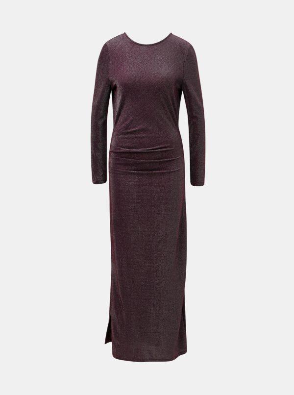 Vínové trblietavé maxišaty s véčkovým výstrihom na chrbte VILA Libbo - šaty na stužkovú - saty na stuzkovu - spoločenské šaty na stužkovú - šaty na stužkovú s dlhým rukávom - plesové šaty na stužkovú - princeznovské šaty na stužkovú - tylové šaty na stužkovú - dlhé šaty na stužkovú