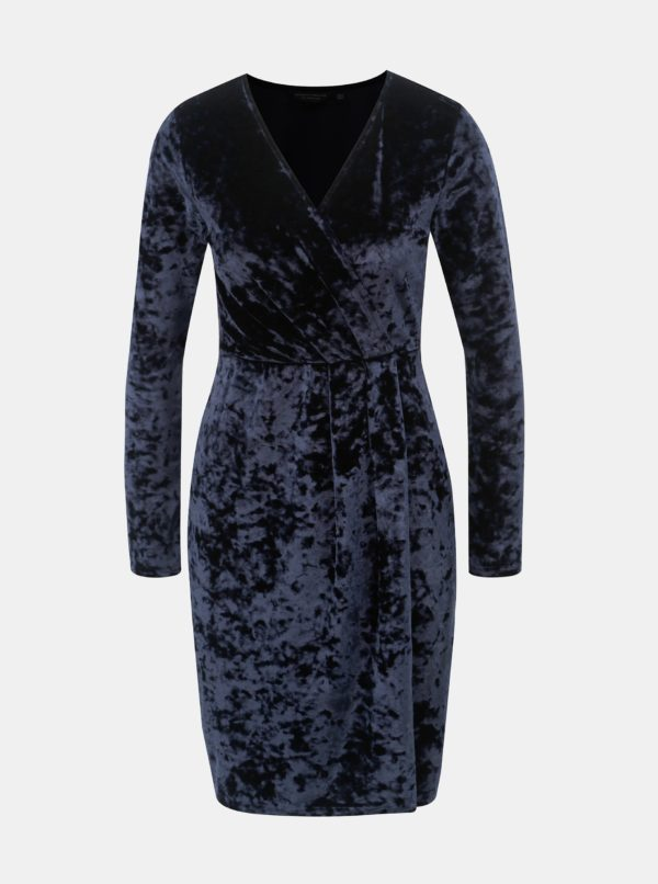 Tmavomodré zamatové šaty s prekladaným výstrihom Dorothy Perkins - šaty na stužkovú  kráľovská modrá - saty na stuzkovu - spoločenské šaty na stužkovú - šaty na stužkovú s dlhým rukávom - plesové šaty na stužkovú - princeznovské šaty na stužkovú - tylové šaty na stužkovú - dlhé šaty na stužkovú
