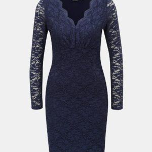 Tmavomodré čipkované šaty s trblietavým efektom Dorothy Perkins Petite - šaty na stužkovú  kráľovská modrá - saty na stuzkovu - spoločenské šaty na stužkovú - šaty na stužkovú s dlhým rukávom - plesové šaty na stužkovú - princeznovské šaty na stužkovú - tylové šaty na stužkovú - dlhé šaty na stužkovú