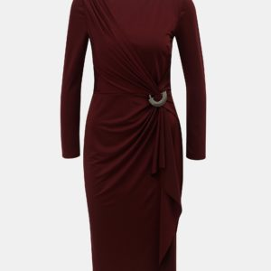 Vínové šaty s volánom a kovovou ozdobou Lily & Franc by Dorothy Perkins - Šaty na stužkovú vínová bordová - saty na stuzkovu - spoločenské šaty na stužkovú - šaty na stužkovú s dlhým rukávom - plesové šaty na stužkovú - princeznovské šaty na stužkovú - tylové šaty na stužkovú - dlhé šaty na stužkovú