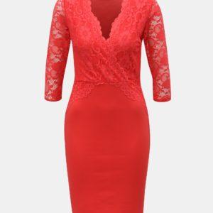 Červené puzdrové šaty s čipkou Dorothy Perkins - Červené šaty na stužkovú - saty na stuzkovu - spoločenské šaty na stužkovú - šaty na stužkovú s dlhým rukávom - plesové šaty na stužkovú - princeznovské šaty na stužkovú - tylové šaty na stužkovú - dlhé šaty na stužkovú