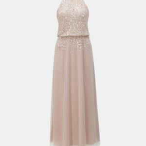 Svetloružové maxišaty s flitrami Dorothy Perkins - šaty na stužkovú - saty na stuzkovu - spoločenské šaty na stužkovú - šaty na stužkovú s dlhým rukávom - plesové šaty na stužkovú - princeznovské šaty na stužkovú - tylové šaty na stužkovú - dlhé šaty na stužkovú