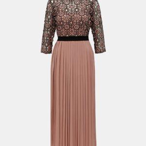 Staroružové midišaty s čipkovaným topom Little Mistress - Šaty na stužkovú ružové - saty na stuzkovu - spoločenské šaty na stužkovú - šaty na stužkovú s dlhým rukávom - plesové šaty na stužkovú - princeznovské šaty na stužkovú - tylové šaty na stužkovú - dlhé šaty na stužkovú