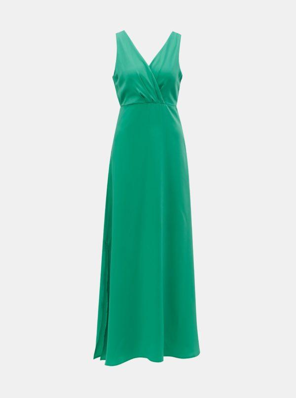 Zelené maxišaty s rozparkom VILA Funda - šaty na stužkovú - saty na stuzkovu - spoločenské šaty na stužkovú - šaty na stužkovú s dlhým rukávom - plesové šaty na stužkovú - princeznovské šaty na stužkovú - tylové šaty na stužkovú - dlhé šaty na stužkovú
