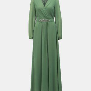 Zelené maxišaty s priesvitnými rukávmi Dorothy Perkins - šaty na stužkovú - saty na stuzkovu - spoločenské šaty na stužkovú - šaty na stužkovú s dlhým rukávom - plesové šaty na stužkovú - princeznovské šaty na stužkovú - tylové šaty na stužkovú - dlhé šaty na stužkovú