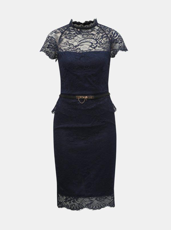 Tmavomodré čipkované puzdrové šaty s volánom Paper Dolls - šaty na stužkovú  kráľovská modrá - saty na stuzkovu - spoločenské šaty na stužkovú - šaty na stužkovú s dlhým rukávom - plesové šaty na stužkovú - princeznovské šaty na stužkovú - tylové šaty na stužkovú - dlhé šaty na stužkovú