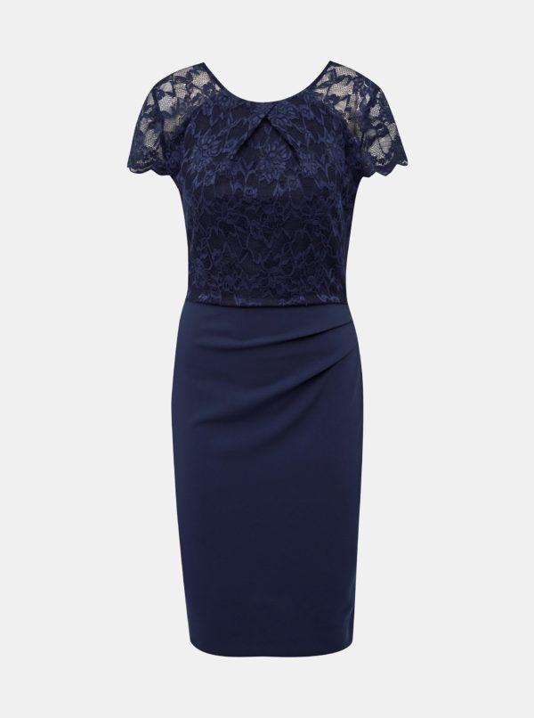 Tmavomodré púzdrové šaty s krajkou Dorothy Perkins - šaty na stužkovú  kráľovská modrá - saty na stuzkovu - spoločenské šaty na stužkovú - šaty na stužkovú s dlhým rukávom - plesové šaty na stužkovú - princeznovské šaty na stužkovú - tylové šaty na stužkovú - dlhé šaty na stužkovú