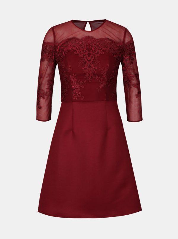 Vínové šaty s čipkovaným topom Chi Chi London Libbie - Šaty na stužkovú vínová bordová - saty na stuzkovu - spoločenské šaty na stužkovú - šaty na stužkovú s dlhým rukávom - plesové šaty na stužkovú - princeznovské šaty na stužkovú - tylové šaty na stužkovú - dlhé šaty na stužkovú