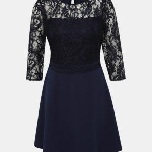 Tmavomodré šaty s krajkou Dorothy Perkins - šaty na stužkovú  kráľovská modrá - saty na stuzkovu - spoločenské šaty na stužkovú - šaty na stužkovú s dlhým rukávom - plesové šaty na stužkovú - princeznovské šaty na stužkovú - tylové šaty na stužkovú - dlhé šaty na stužkovú