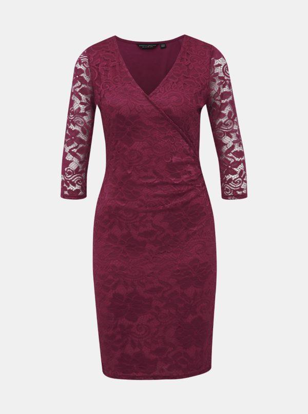 Vínové krajkové púzdrové šaty Dorothy Perkins - Šaty na stužkovú vínová bordová - saty na stuzkovu - spoločenské šaty na stužkovú - šaty na stužkovú s dlhým rukávom - plesové šaty na stužkovú - princeznovské šaty na stužkovú - tylové šaty na stužkovú - dlhé šaty na stužkovú