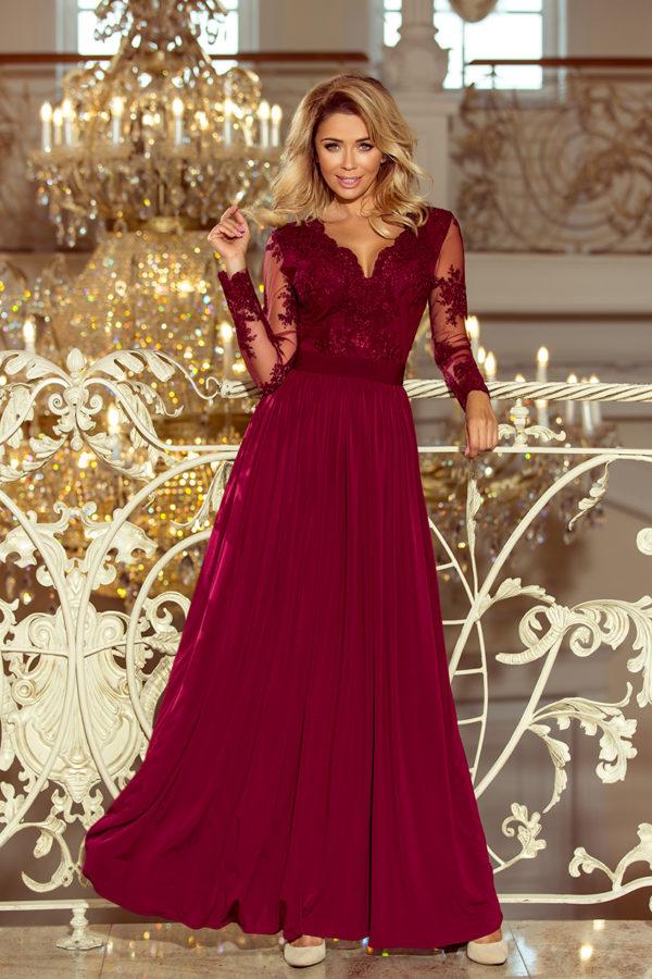 Dámske šaty 213-2 - šaty na stužkovú - saty na stuzkovu - spoločenské šaty na stužkovú - šaty na stužkovú s dlhým rukávom - plesové šaty na stužkovú - princeznovské šaty na stužkovú - tylové šaty na stužkovú - dlhé šaty na stužkovú - maxi šaty na stužkovú