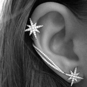 lacna bizuteria - najlacnejšia bižutéria - doplnky na stužkovú - šperky sety - šperky z chirurgickej ocele - darček na stužkovú - šperky na stužkovú - Náušnice Double Star - Strieborná KP1654