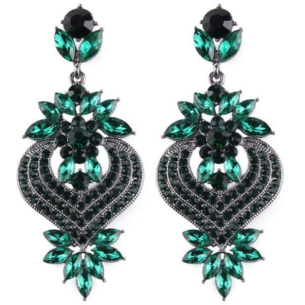 lacna bizuteria - najlacnejšia bižutéria - doplnky na stužkovú - šperky sety - šperky z chirurgickej ocele - darček na stužkovú - šperky na stužkovú - Náušnice Priscilla-Zelená KP5010
