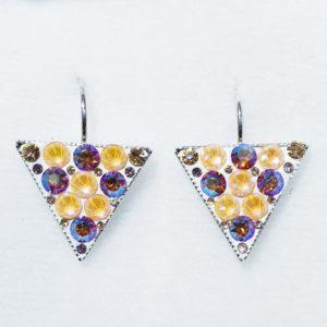 lacna bizuteria - najlacnejšia bižutéria - doplnky na stužkovú - šperky sety - šperky z chirurgickej ocele - darček na stužkovú - šperky na stužkovú - Náušnice Triangle SWAROVSKI-Str./Ružová KP5351