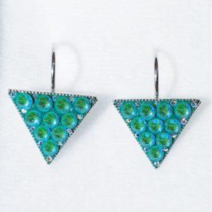 lacna bizuteria - najlacnejšia bižutéria - doplnky na stužkovú - šperky sety - šperky z chirurgickej ocele - darček na stužkovú - šperky na stužkovú - Náušnice Triangle SWAROVSKI-Str./Tyrkysová KP5350